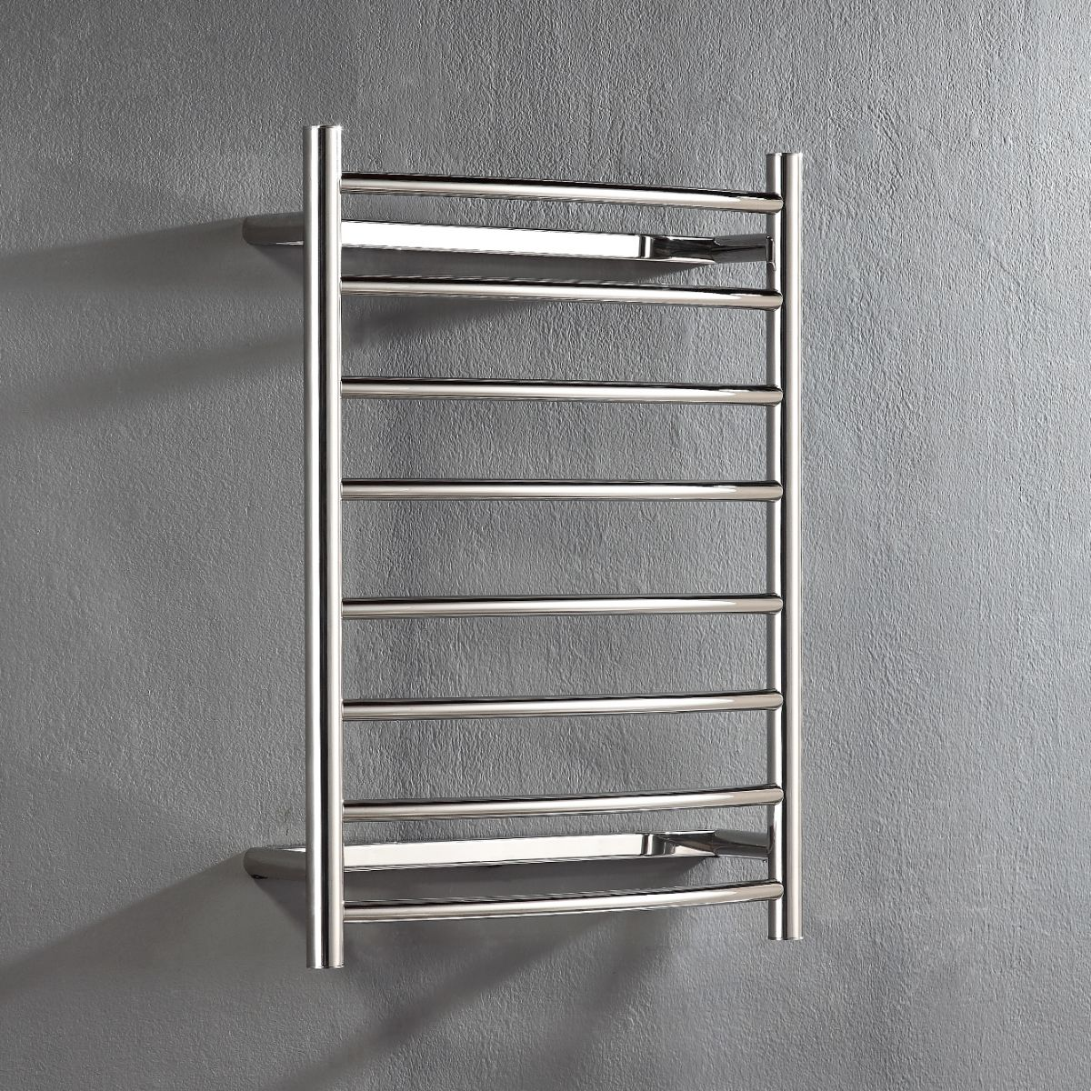 Heated Towel Rail: Hotwire 'Easy Fix' Curved Round. 8 Bar 80W Polished