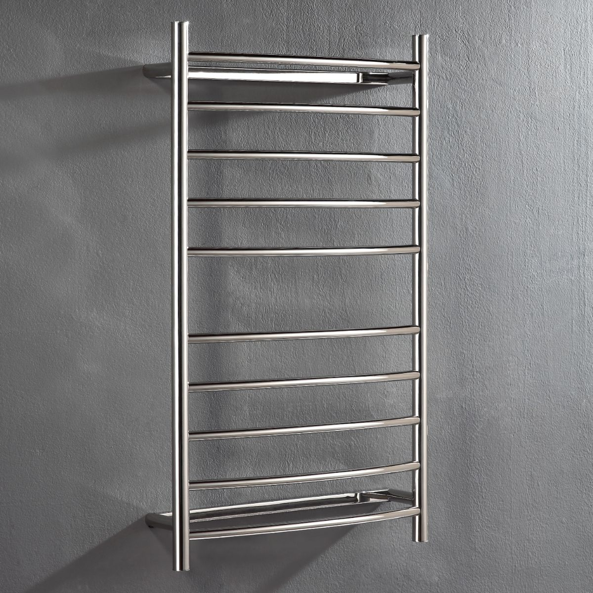 Heated Towel Rail: Hotwire 'Easy Fix' Curved Round. 10 Bar 115W Polished