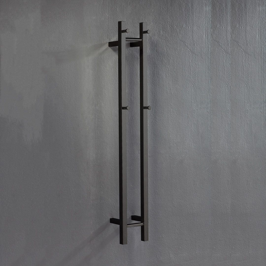 Heated Towel Rail: Hotwire 'Easy Fix' Vertical Square. 2 Bar 40W Polished