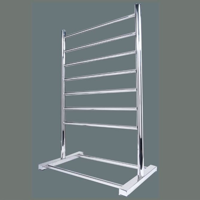 Heated Towel Rail: Hotwire 'Easy Fix' Free Standing Round. 7 Bar 90W Stainess